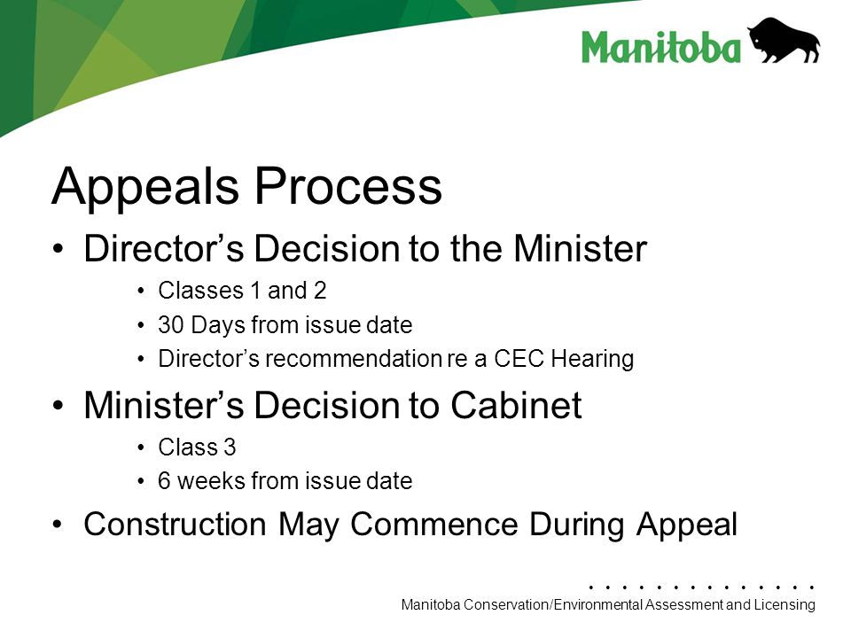 Appeals Process Director's Decision to the Minister