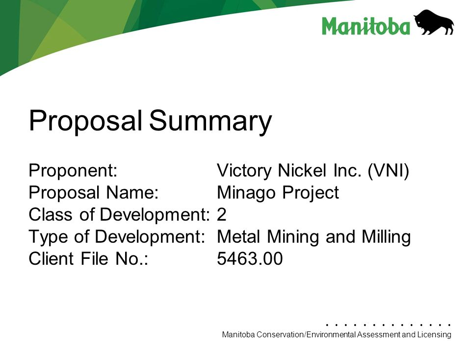 Proposal Summary Proponent: Victory Nickel Inc. (VNI)
