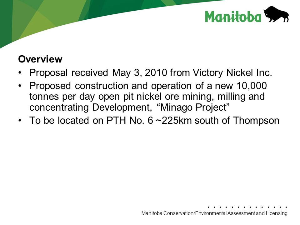 Overview Proposal received May 3, 2010 from Victory Nickel Inc.