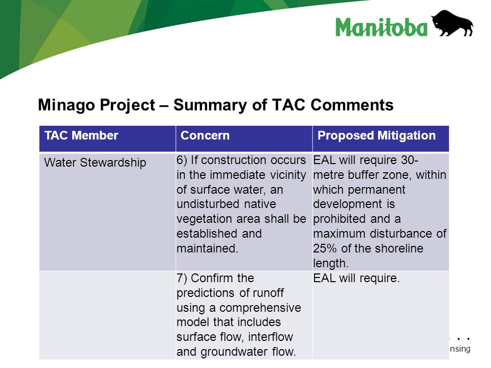 Minago Project – Summary of TAC Comments