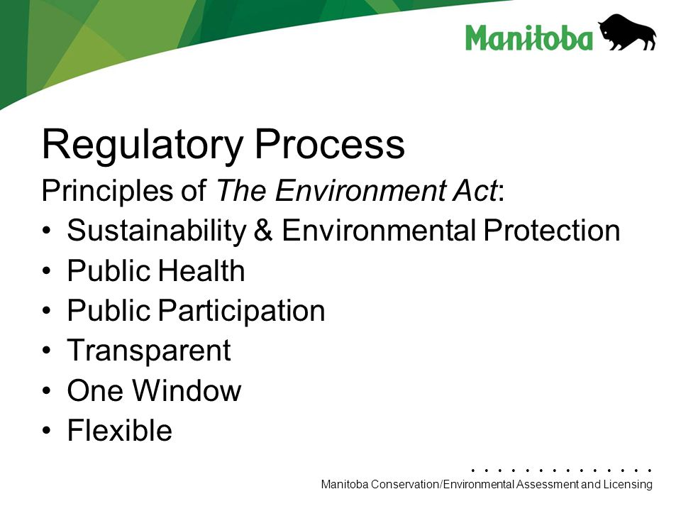 Regulatory Process Principles of The Environment Act: