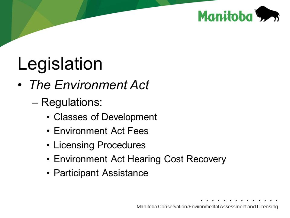 Legislation The Environment Act Regulations: Classes of Development