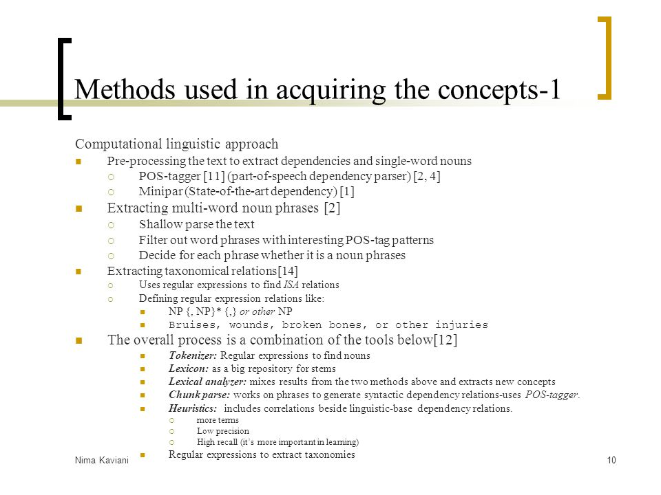 Methods used in acquiring the concepts-1