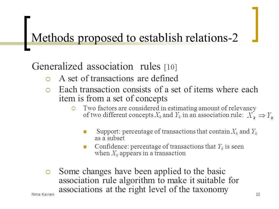 Methods proposed to establish relations-2