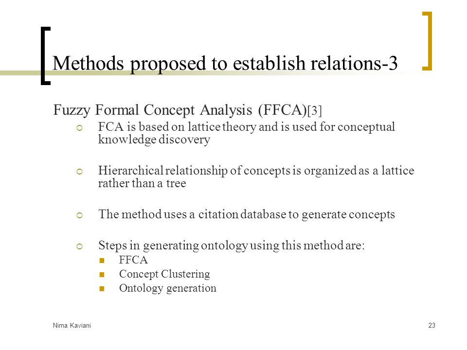 Methods proposed to establish relations-3