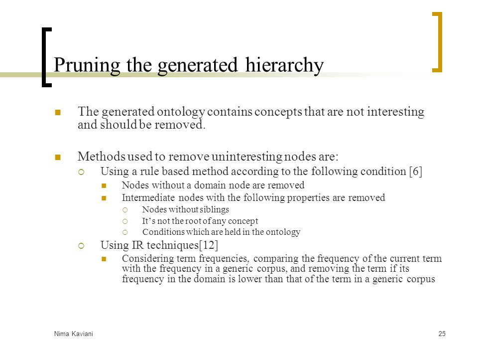 Pruning the generated hierarchy