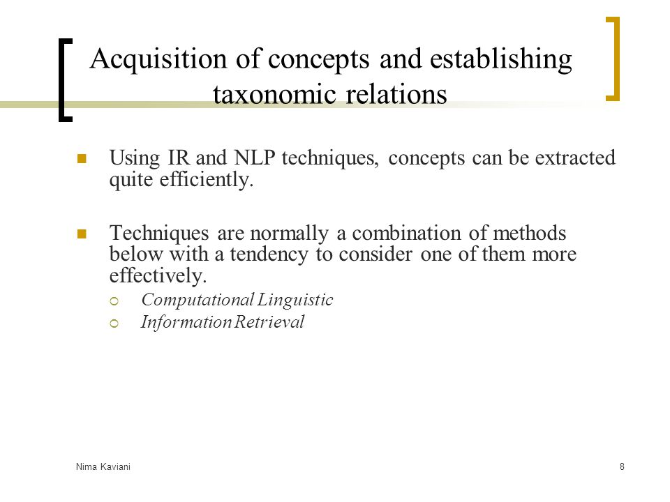 Acquisition of concepts and establishing taxonomic relations