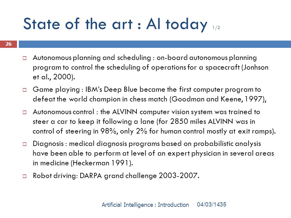 State of the art : AI today 1/2