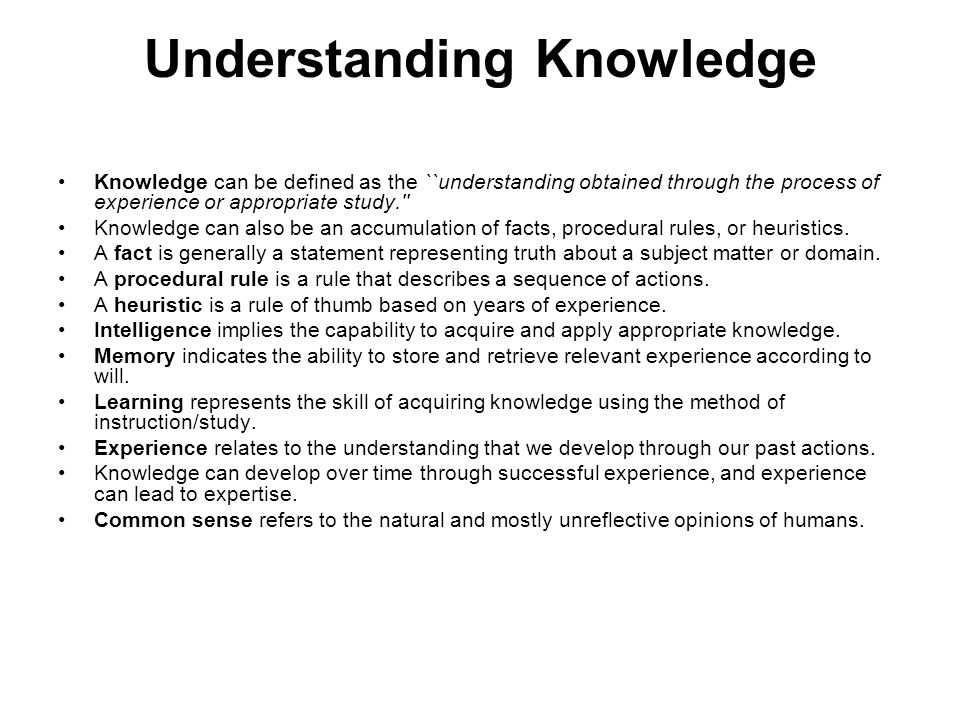Understanding Knowledge