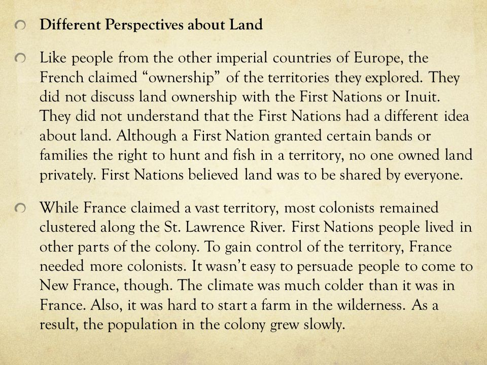 Different Perspectives about Land