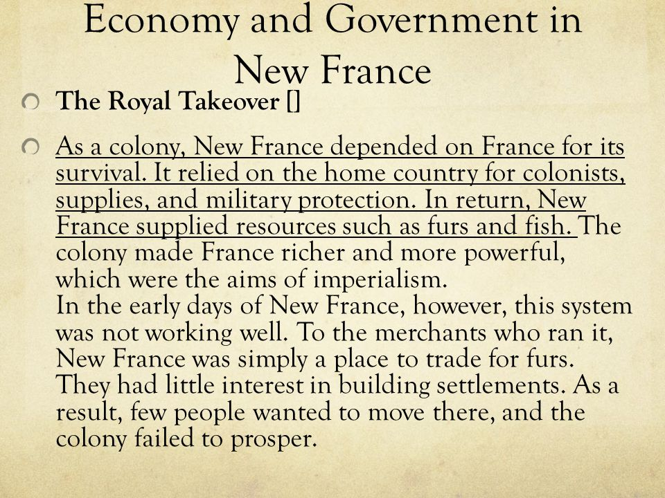 Economy and Government in New France
