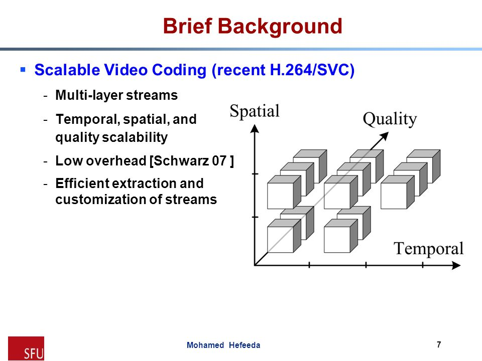 Brief Background Scalable Video Coding (recent H.264/SVC)