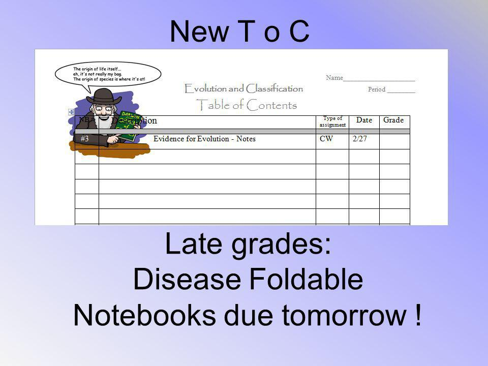Notebooks due tomorrow !