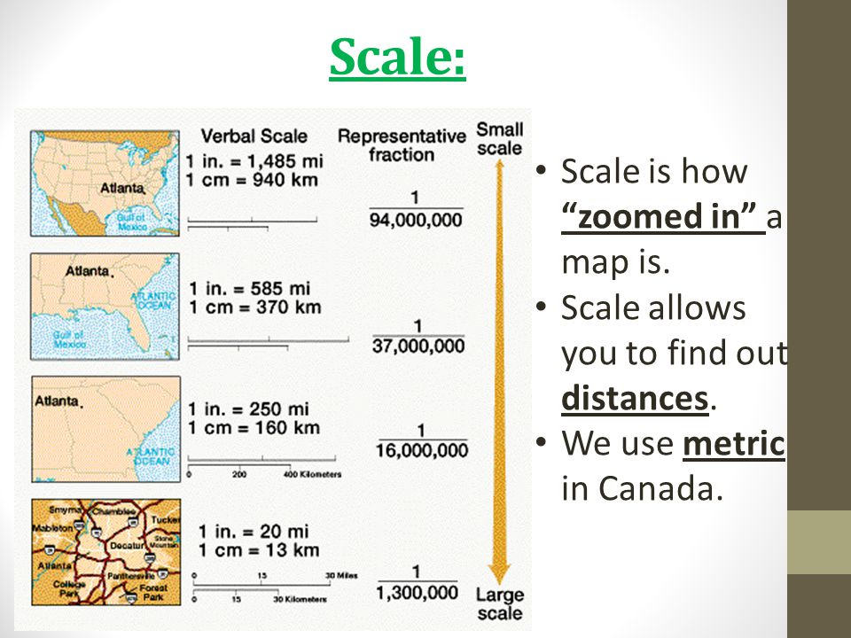 Scale: Scale is how zoomed in a map is.