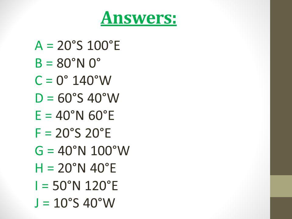 Answers: A = 20°S 100°E B = 80°N 0° C = 0° 140°W D = 60°S 40°W