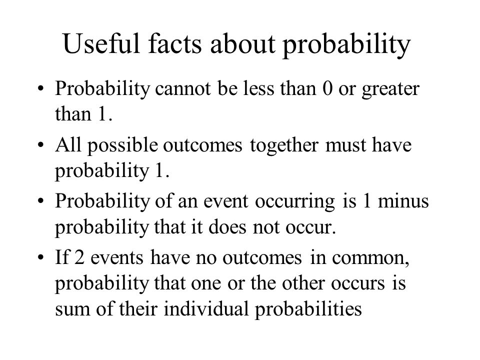 Useful facts about probability