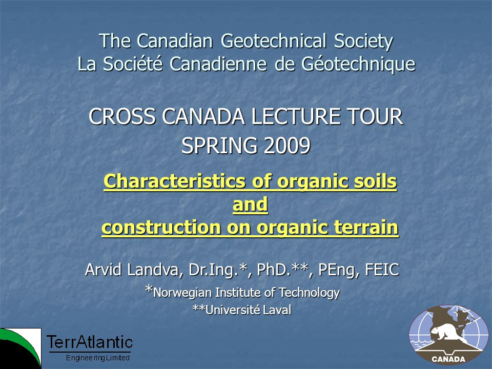 CROSS CANADA LECTURE TOUR SPRING 2009