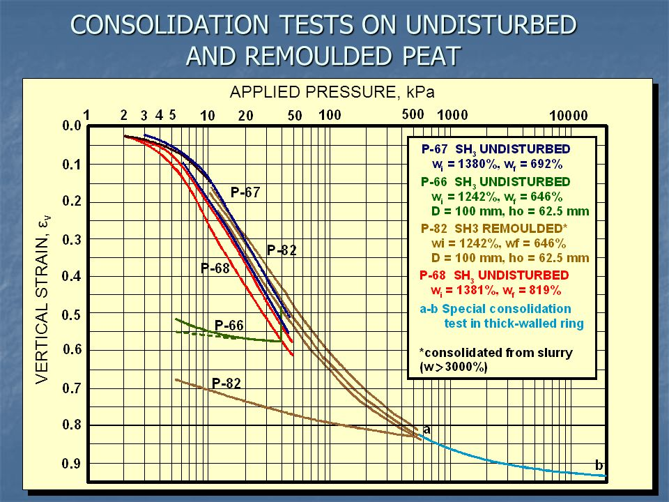 CONSOLIDATION TESTS ON UNDISTURBED AND REMOULDED PEAT