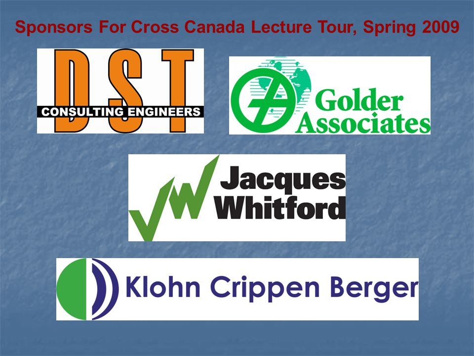 Sponsors For Cross Canada Lecture Tour, Spring 2009