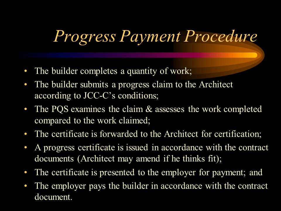 Progress Payment Procedure