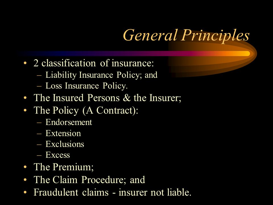 General Principles 2 classification of insurance: