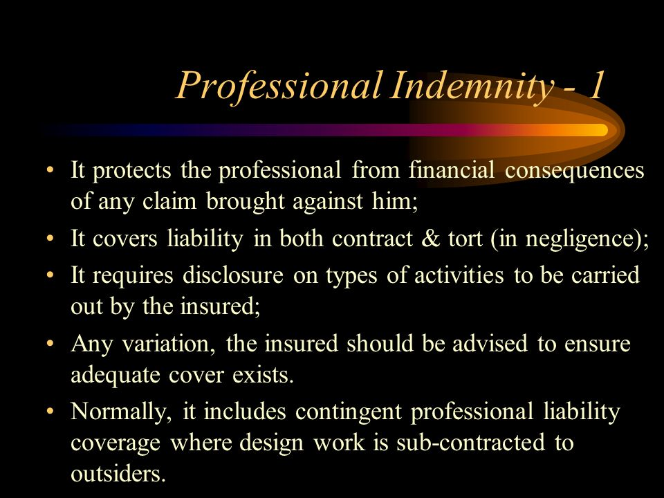 Professional Indemnity - 1
