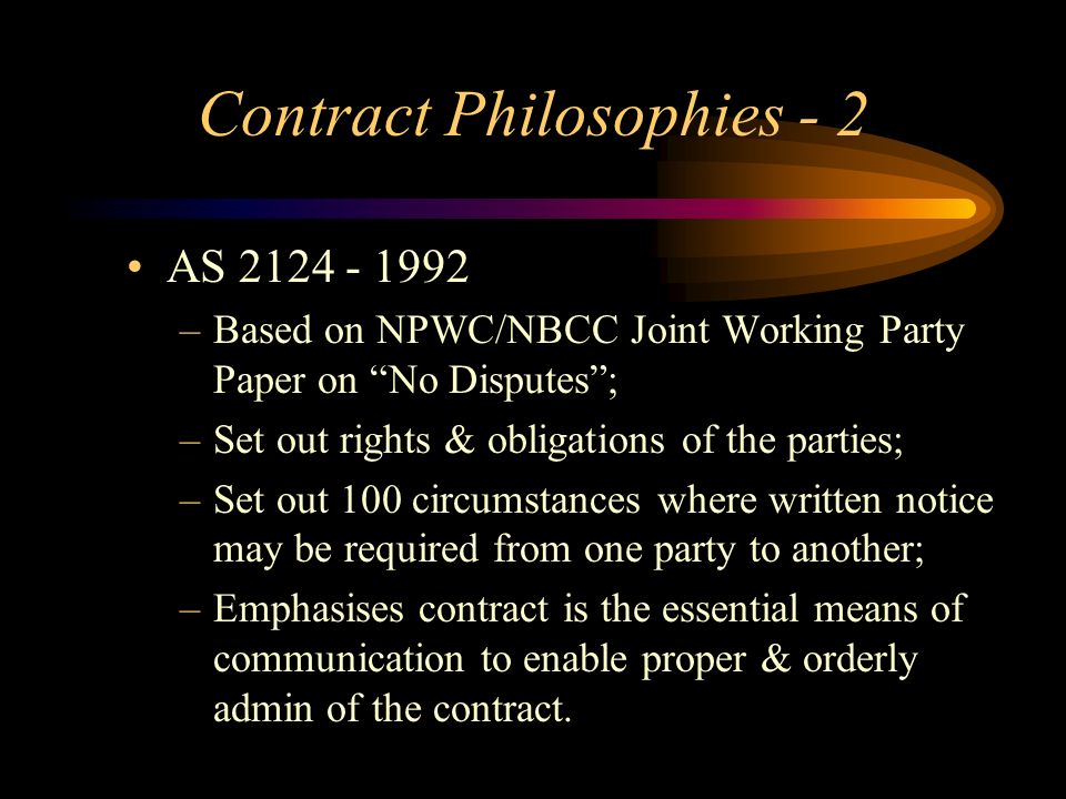 Contract Philosophies - 2