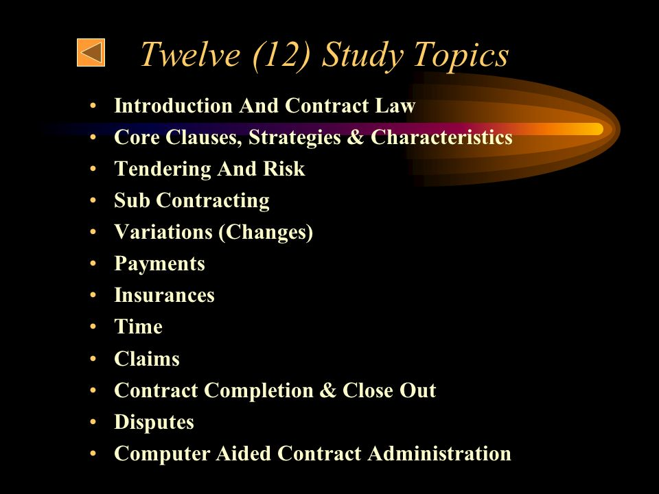 Twelve (12) Study Topics Introduction And Contract Law