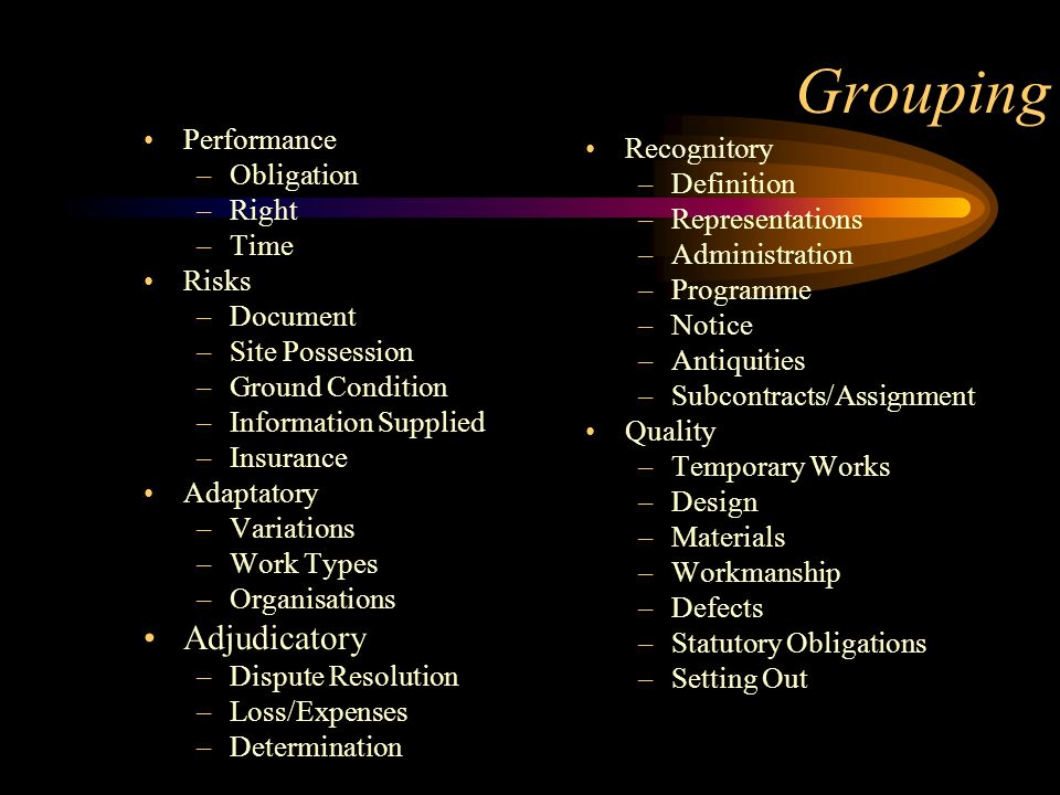 Grouping Adjudicatory Performance Recognitory Obligation Definition