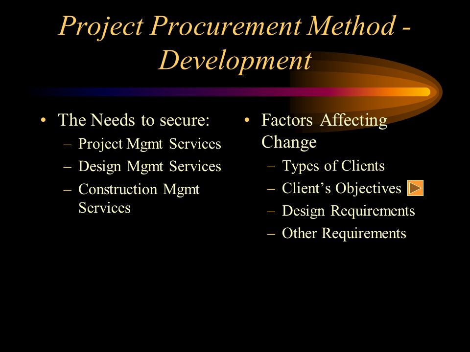Project Procurement Method - Development