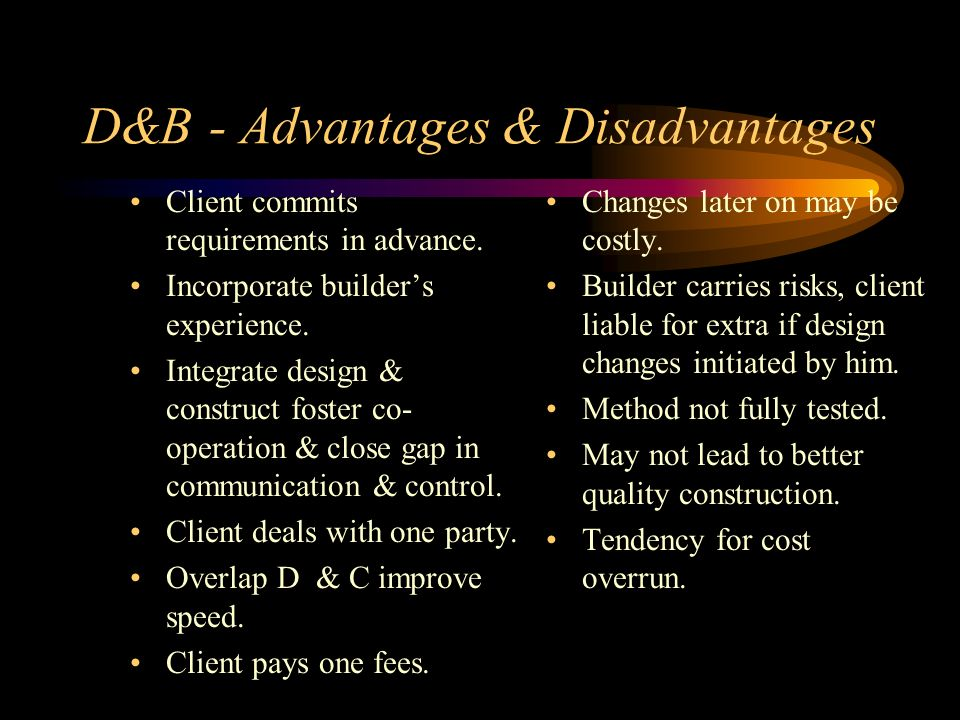 D&B - Advantages & Disadvantages