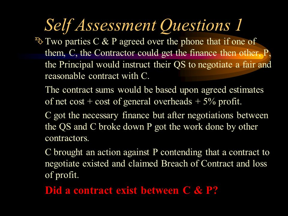 Self Assessment Questions 1