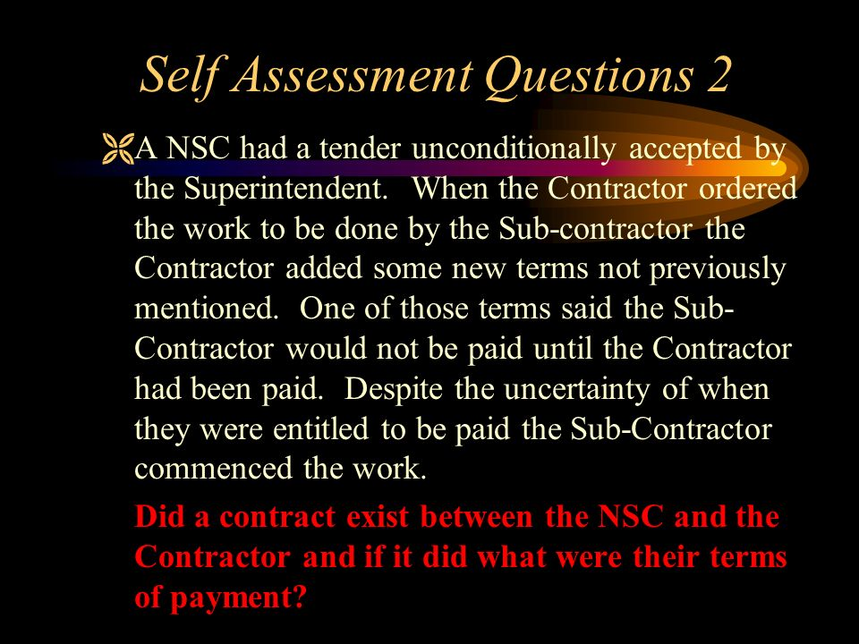 Self Assessment Questions 2