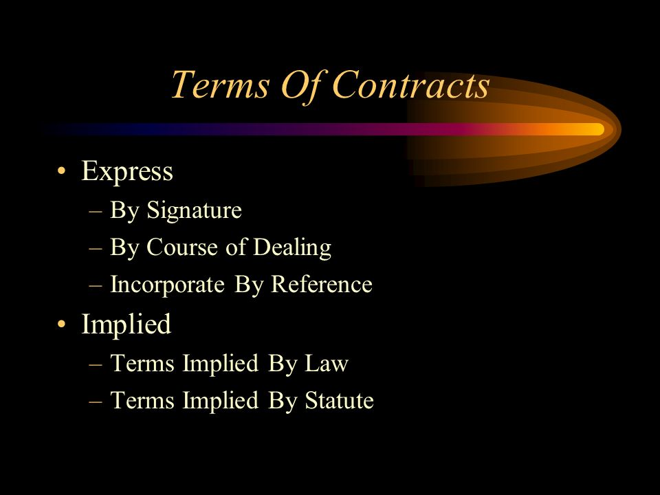 Terms Of Contracts Express Implied By Signature By Course of Dealing