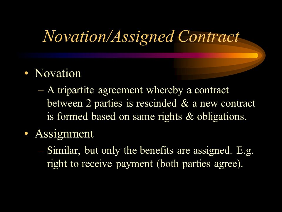 Novation/Assigned Contract