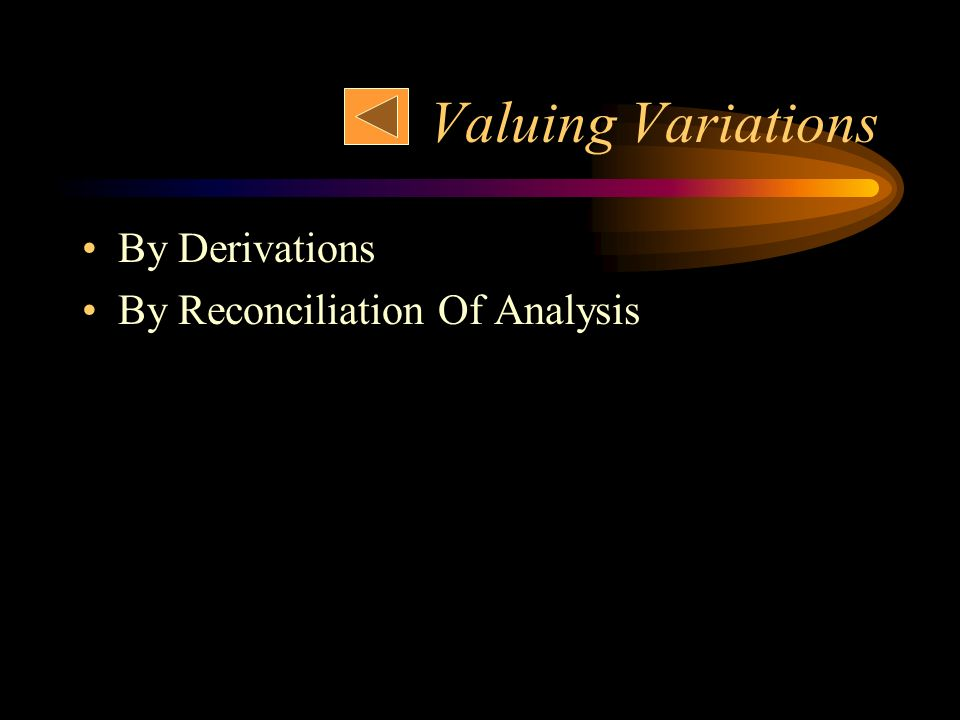 Valuing Variations By Derivations By Reconciliation Of Analysis