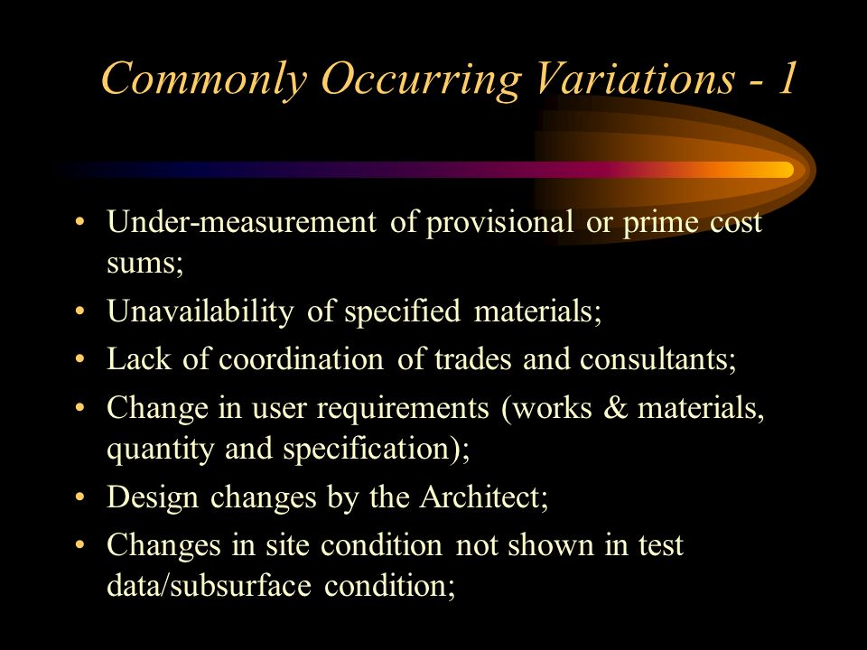 Commonly Occurring Variations - 1