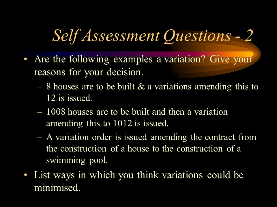 Self Assessment Questions - 2