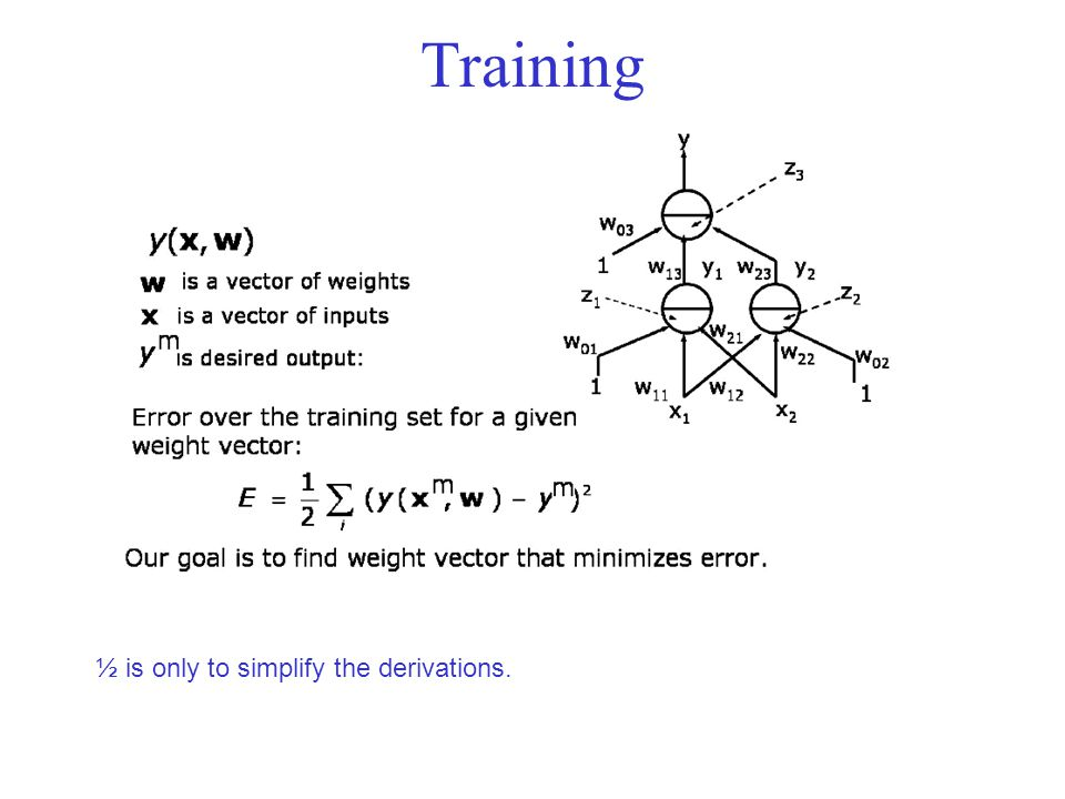 Training ½ is only to simplify the derivations.