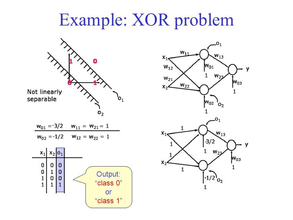 Example: XOR problem Output: class 0 or class 1