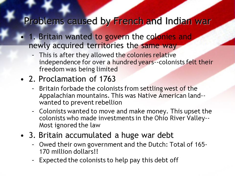 Problems caused by French and Indian war