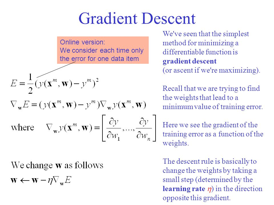 Gradient Descent We ve seen that the simplest method for minimizing a differentiable function is gradient descent.