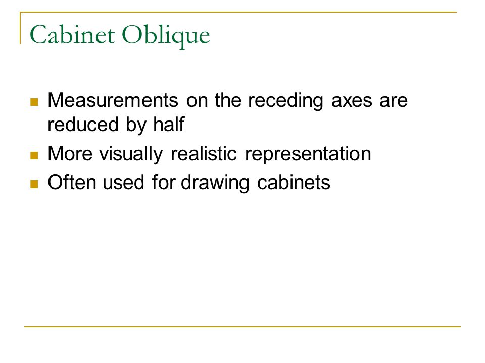 Cabinet Oblique Measurements on the receding axes are reduced by half