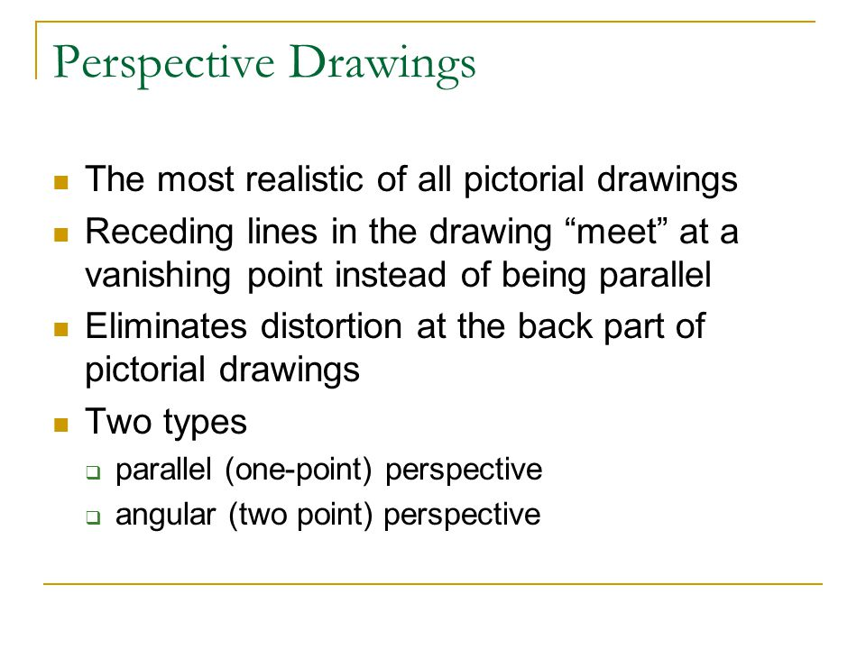 Perspective Drawings The most realistic of all pictorial drawings