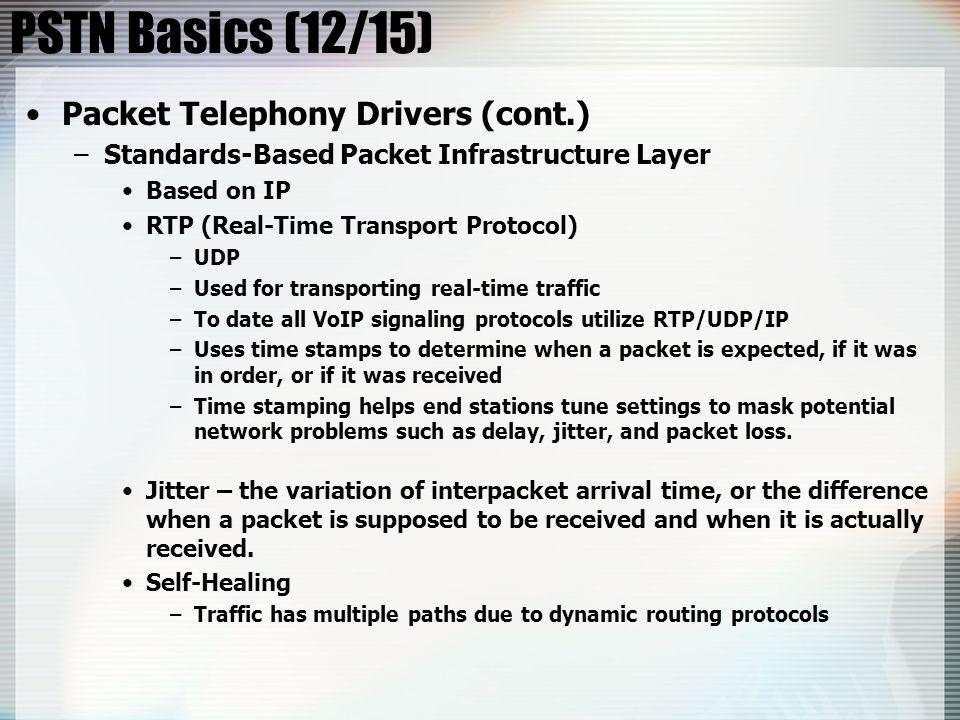 PSTN Basics (12/15) Packet Telephony Drivers (cont.)