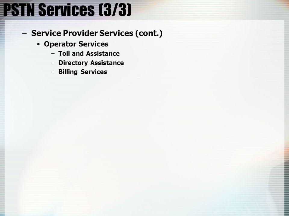 PSTN Services (3/3) Service Provider Services (cont.)