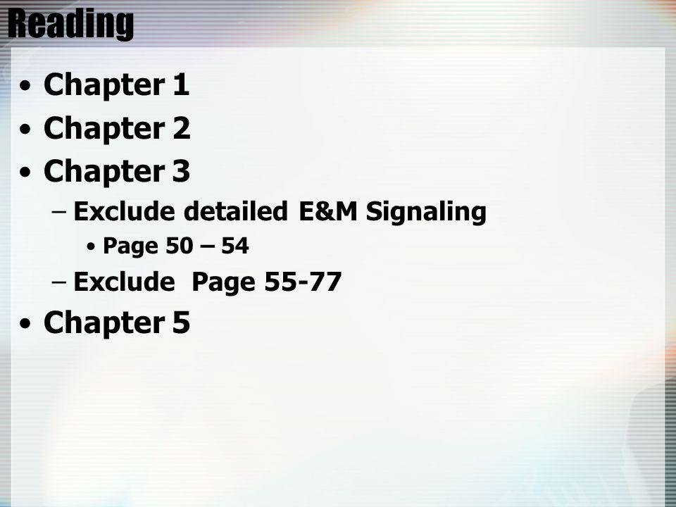 Reading Chapter 1 Chapter 2 Chapter 3 Chapter 5