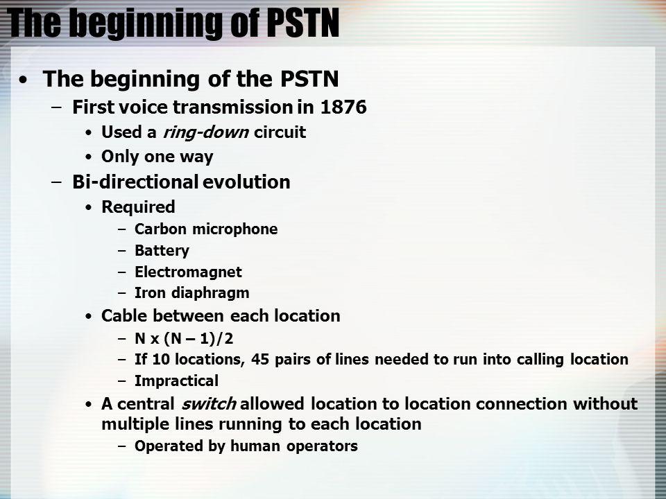 The beginning of PSTN The beginning of the PSTN