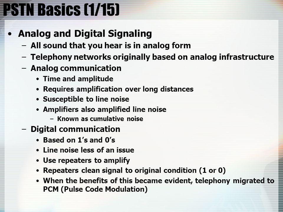 PSTN Basics (1/15) Analog and Digital Signaling