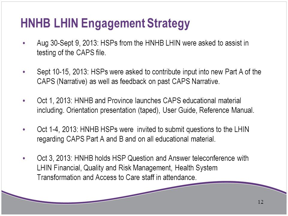HNHB LHIN Engagement Strategy